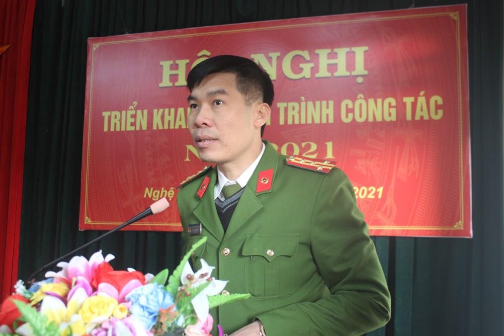 Đại tá Cao Minh Huyền, Phó Giám đốc Công an tỉnh phát biểu chỉ đạo