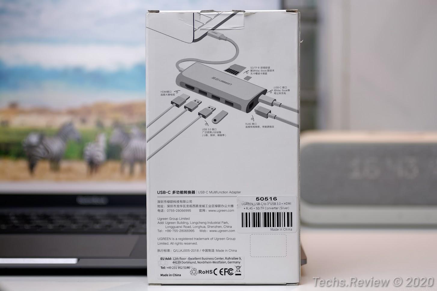 Hub USB-C đa năng 8 trong 1 Ugreen 50516