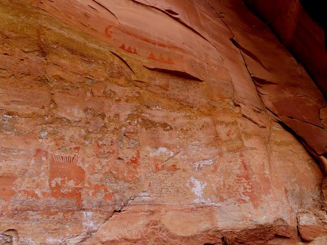 Badly weathered rock art