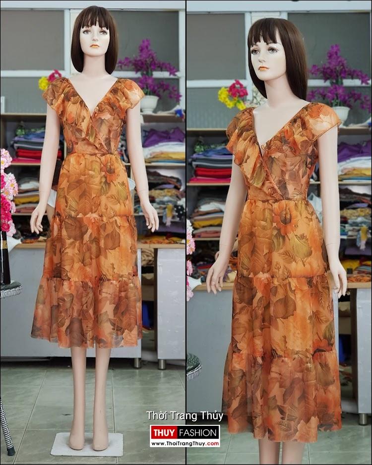 Váy đầm xòe mặc dự tiệc đi biển cổ chữ V717 thời trang thủy đà nẵng