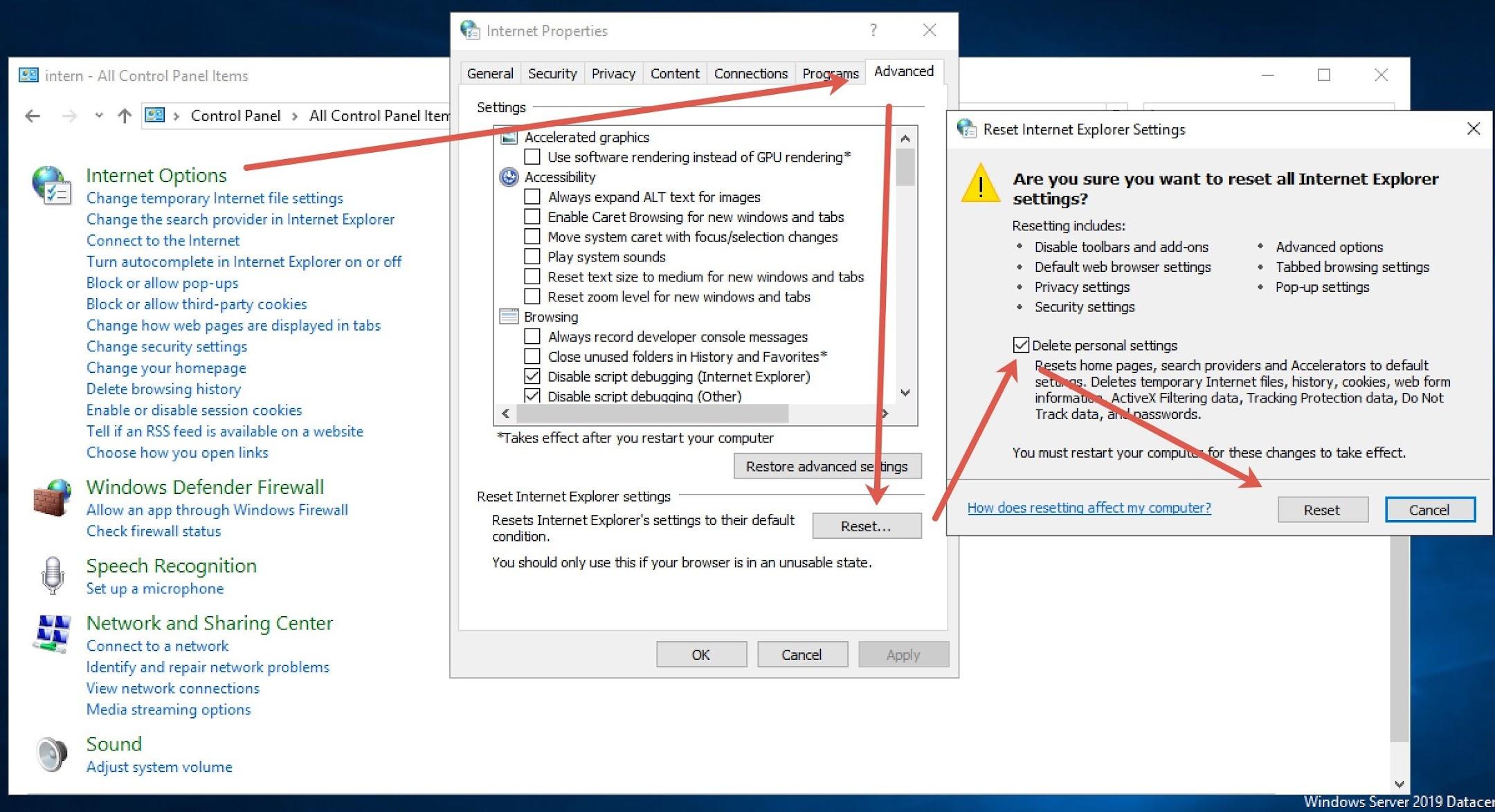 Reset Internet Options for Windows