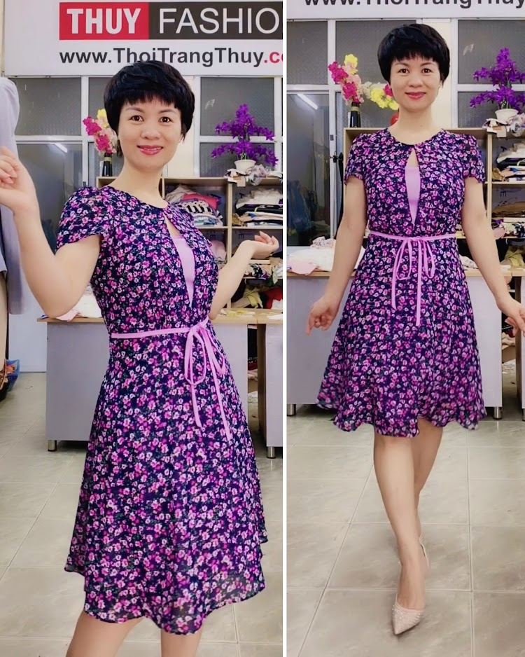 Váy xòe cổ tròn họa tiết hoa màu tím V727 thời trang thủy hà nội