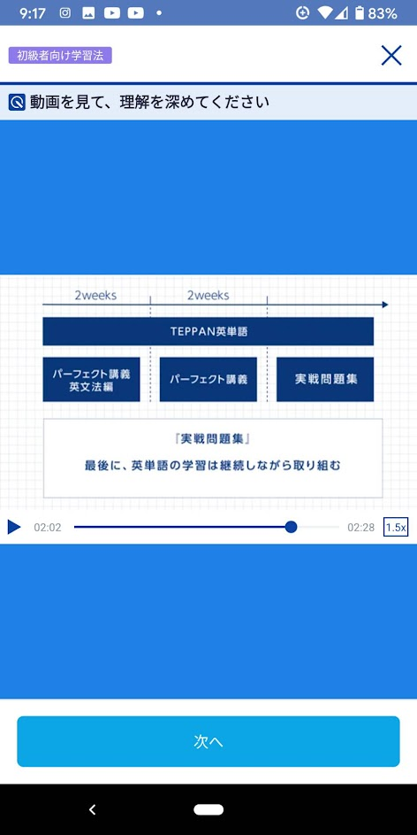 スタディサプリTOEIC 初級者の学習の進め方の画面