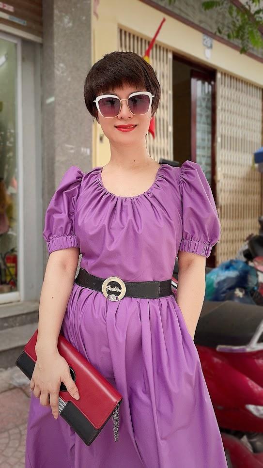 Review chất vải váy xòe midi công sở và dạo phố V761 thời trang thủy hà nội