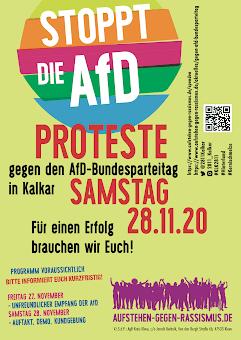 Plakat «Stoppt die AFD. Proteste gegen den AfD-Bundesparteitag in Kalkar …».