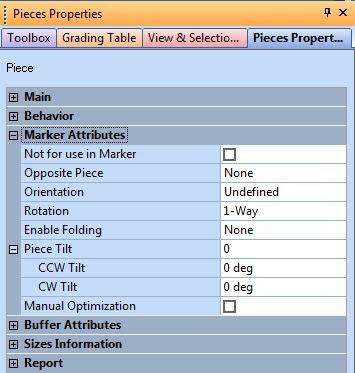Piece Properties Trong Optitex 3
