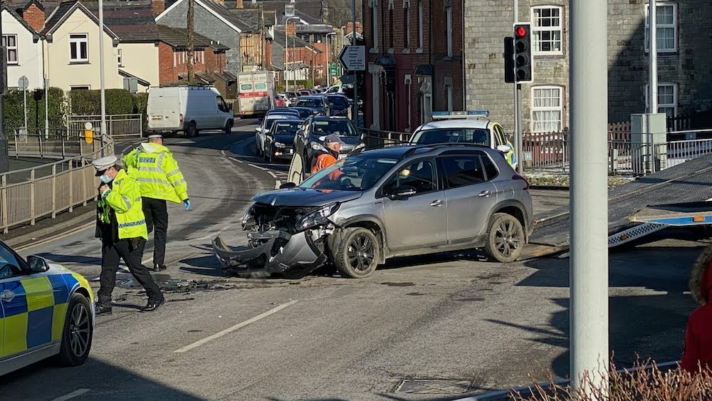 Accident causes town centre delays