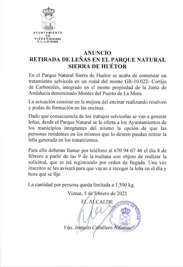 retirada leña sierra huetor viznar 2021