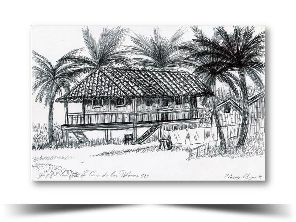 Guayaquil Antiguo La Casa del Compadrito 1931 Obra del Artista Ecuatoriano Lalinchi Arreaga Burgos E.E.A.B