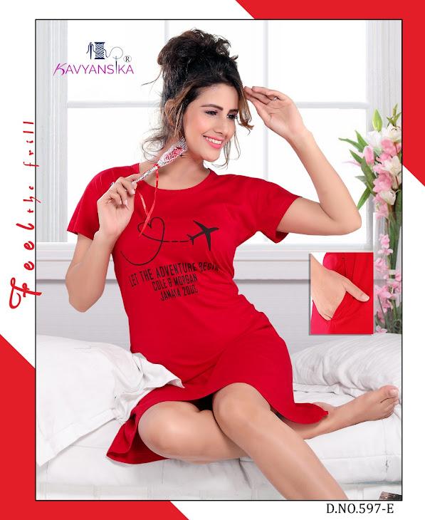 Pocket Long Tshirt Nighty Vol 597 Kavyansika Short Nighty Manufacturer Wholesaler