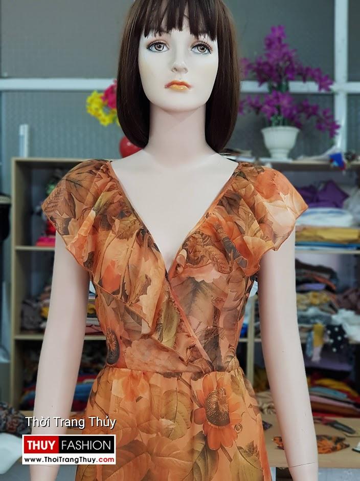 Váy đầm xòe mặc dự tiệc đi biển cổ chữ V717 thời trang thủy sài gòn