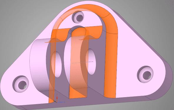 Изменённая геометрическая модель узла навески двигателя с утолщенной опорной пластиной и увеличенными скруглениями