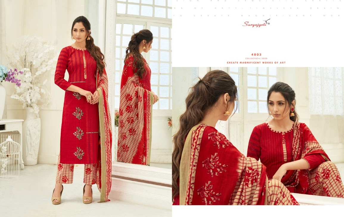 Trendy Cotton Vol 48 Suryajyoti Pant Style Dress Material Manufacturer Wholesaler