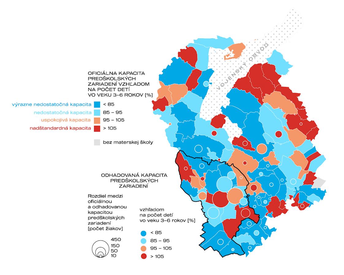 Obr. 2. Porovnanie oficiálnej a odhadovanej kapacity predškolských zariadení v Bratislavskom samosprávnom kraji v roku 2021. Zdroj údajov: CVTI 2020, vlastný prieskum.
