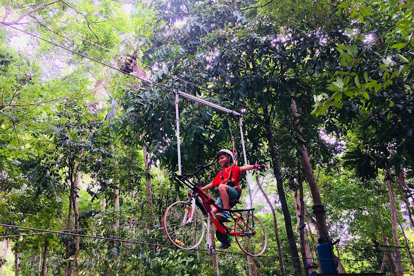 Ride a bicycle in the air