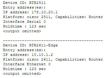 The following code is a sample partial output of the show cdp neighbors detail command.