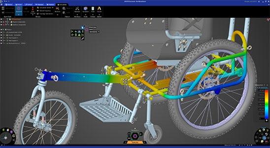 Расчёт деформированного состояния рамы внедорожной инвалидной коляски AdvenChair в программном продукте Ansys Discovery. Изображение предоставлено компанией Onward Project LLC