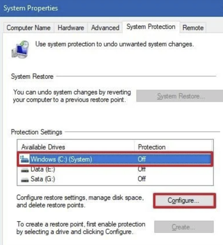 Select the System drive under the Protection Settings section then click the Configure button.