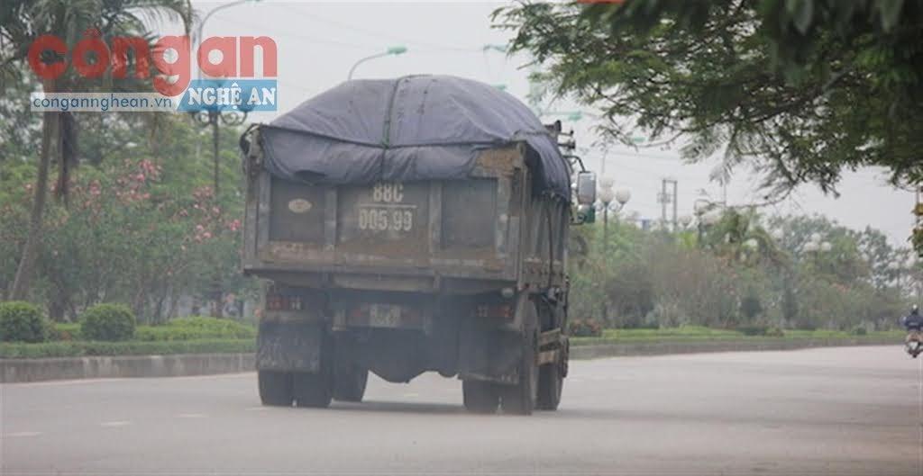 Xe tải chạy trên tuyến đê Tả Lam