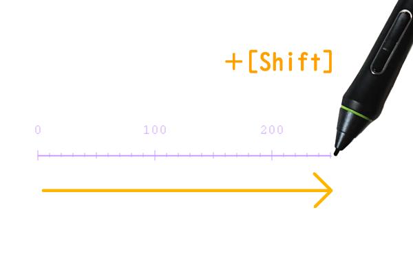 クリスタ:定規ツール(Shift)