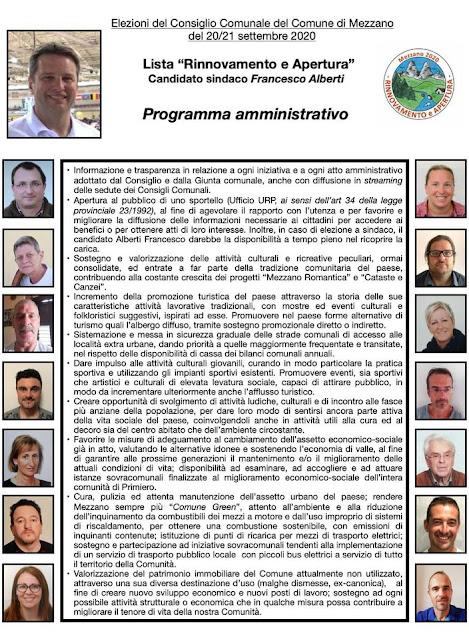 Programma Rinnovamento e apertura elezioni comunali Mezzano 2020
