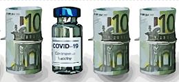 Covid-19 Impfstoff und Geldbündel.
