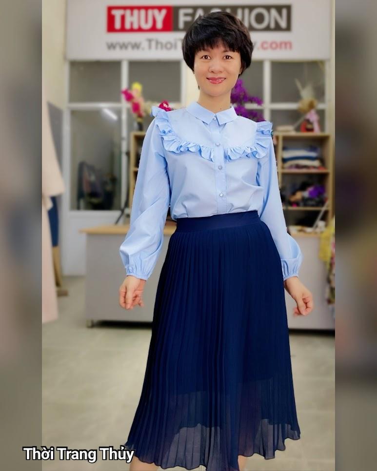 Áo sơ mi nữ công sở mix chân váy xòe thời trang thủy đà nẵng
