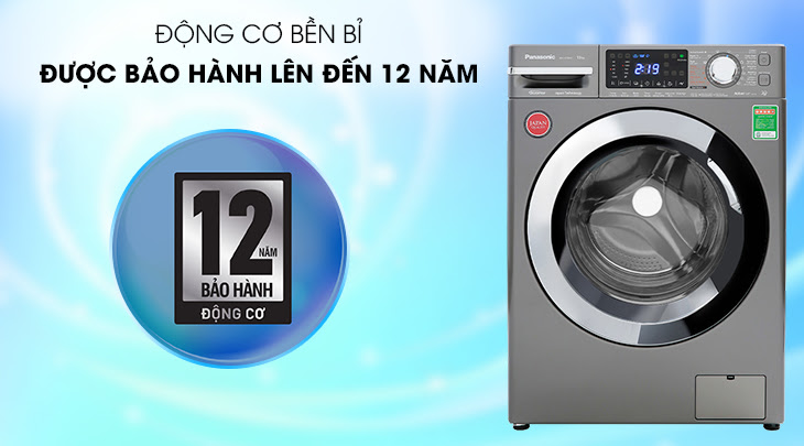 máy giặt FX1 lồng ngang của Panasonic được bảo hành động cơ đến 12 năm