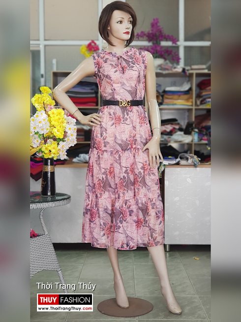 Váy xòe midi sát nách hoa mặc đi biển dự tiệc V725 thời trang thủy hải phòng