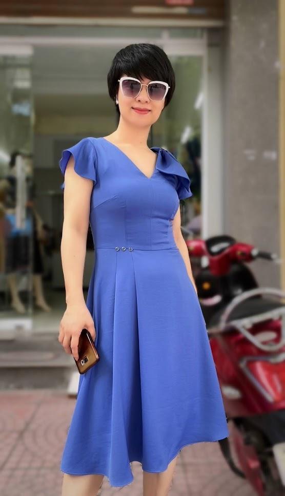 váy xòe midi công sở dạo phố thời trang thủy kiến an