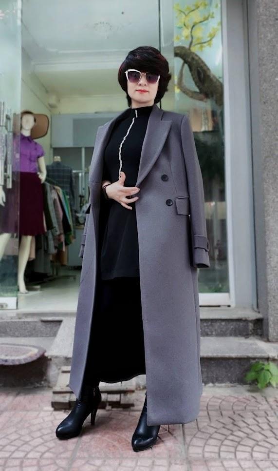 Áo khoác măng tô nữ vải dạ màu ghi xám V750 thời trang thủy hà nội