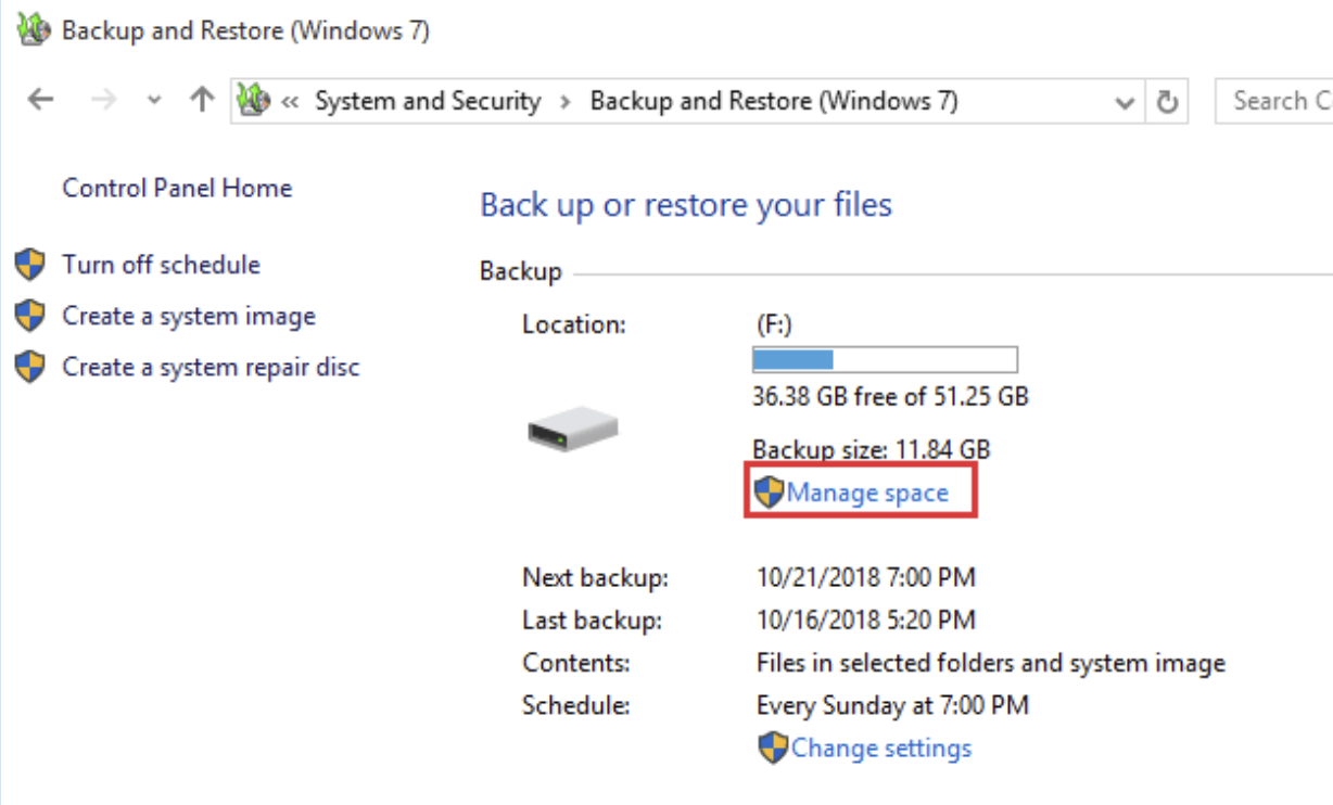 Click on Manage Space under Backup