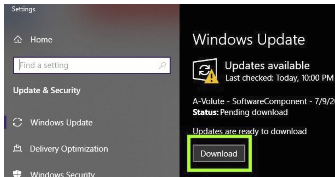 Download and install Windows Updates.