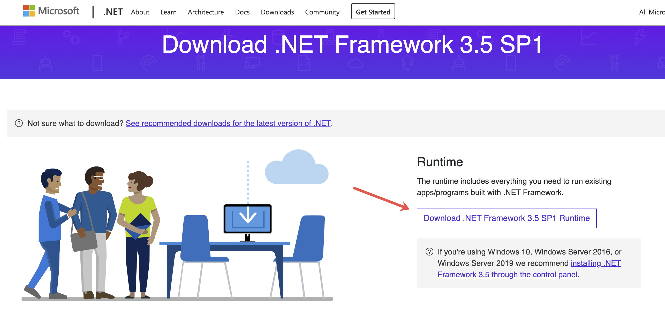 Go to Microsoft .NET official site and click on the Download .NET Framework 3.5 SP1 Runtime button.