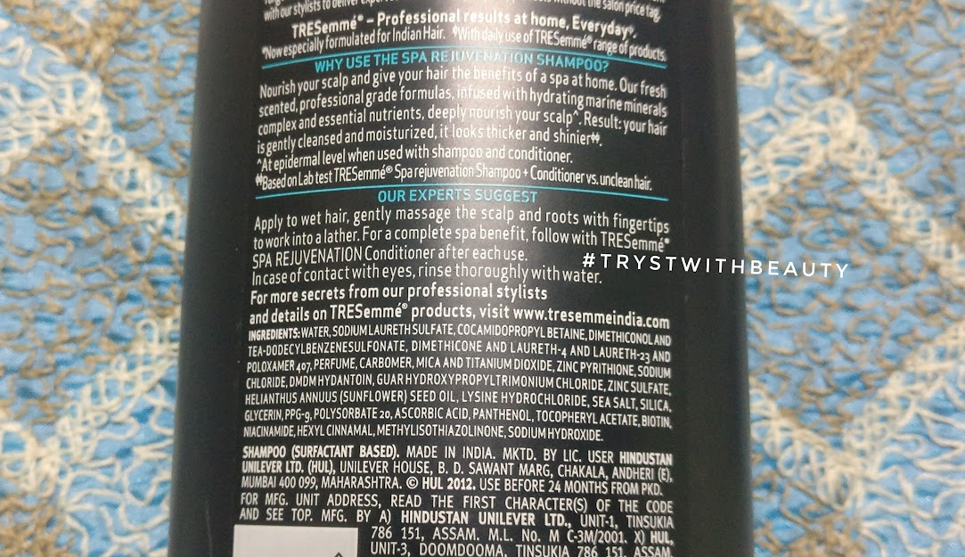 Summer Series Post #6 - TRESemmé Hair Spa Rejuvenation Shampoo & Conditioner Review - Tryst with ...