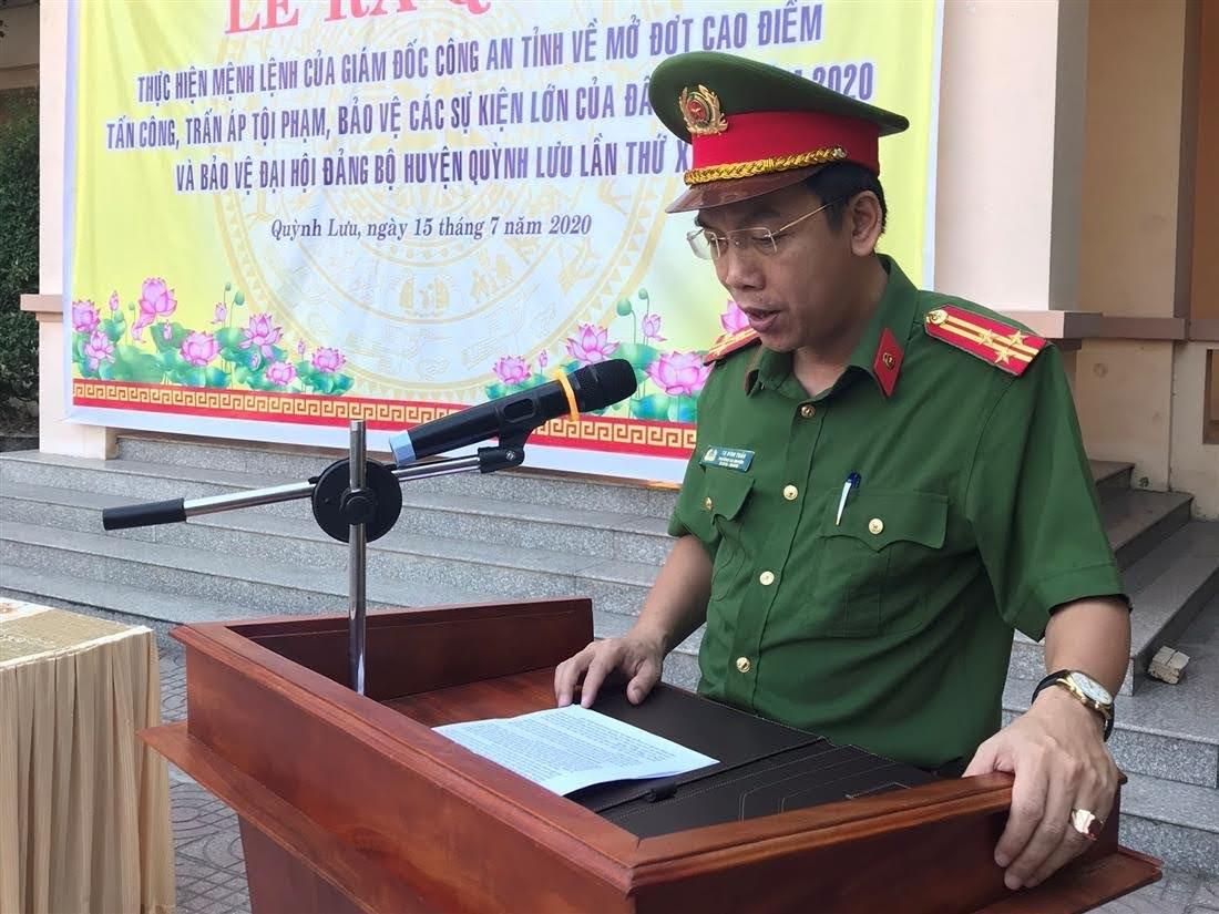 Thượng tá Tạ Đình Tuấn, Trưởng Công an huyện phát động lễ ra quân