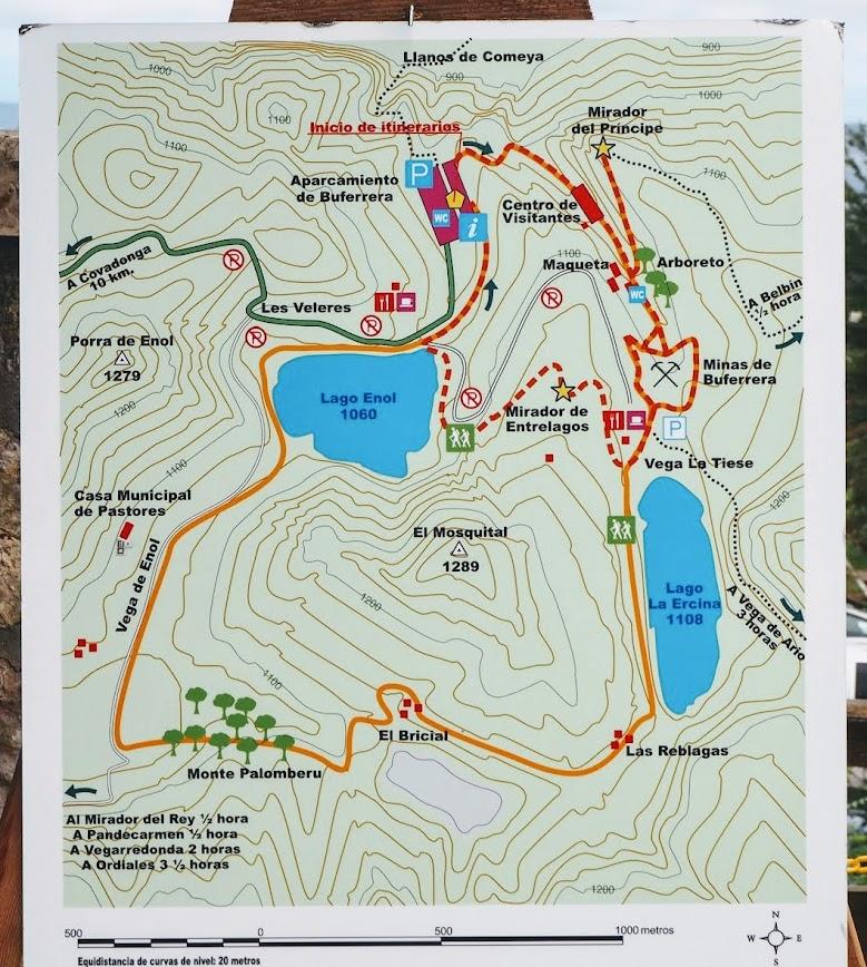 mapa sendero lagos de covadonga