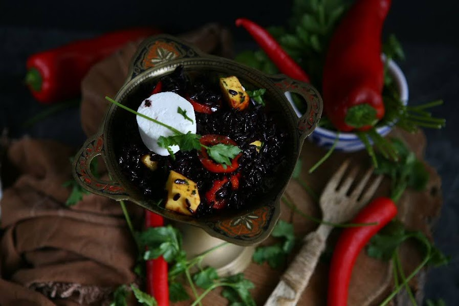 Black Rice Goat Cheese Salad with Mango and Sweet Pointed Pepper