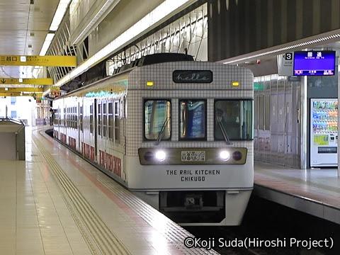 西鉄 6050形改造「THE RAIL KITCHEN CHIKUGO」 西鉄福岡(天神)駅入線