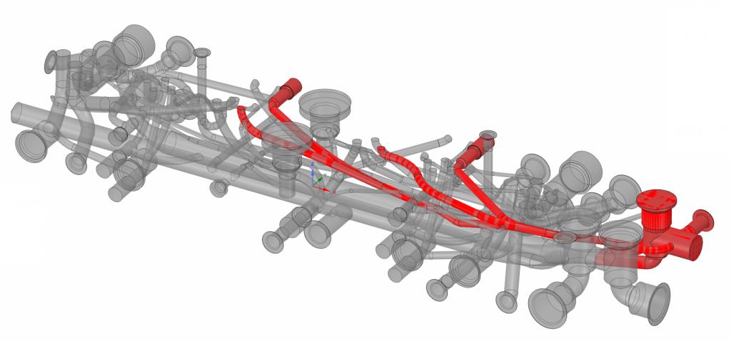 Оптимизированные каналы монтажной плиты гидроаппарата. Красным подсвечен один из изменённых каналов с удалёнными глухими концами и без лишних смен направления