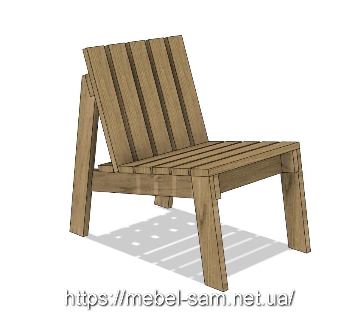 кресло из доски - общий вид спереди