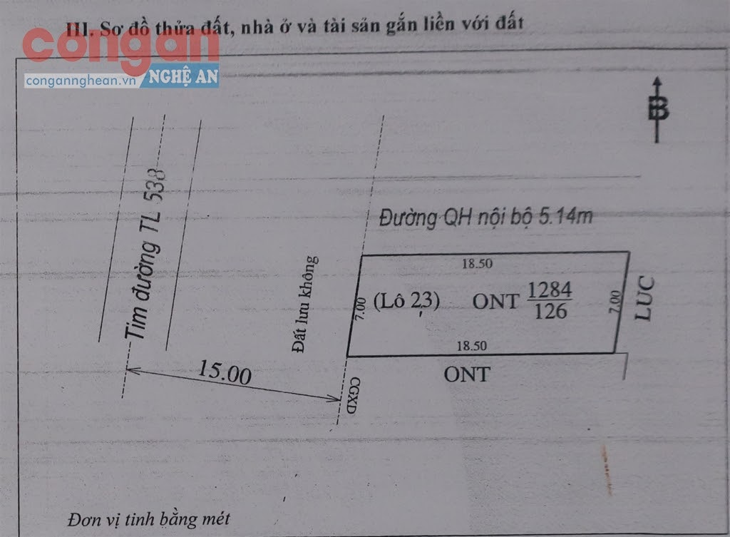 Sơ đồ thửa đất trong GCNQSDĐ của anh Hải  được UBND huyện Yên Thành cấp năm 2013 thể hiện  phía bắc thửa đất là đường quy hoạch nội bộ rộng 5,14 m
