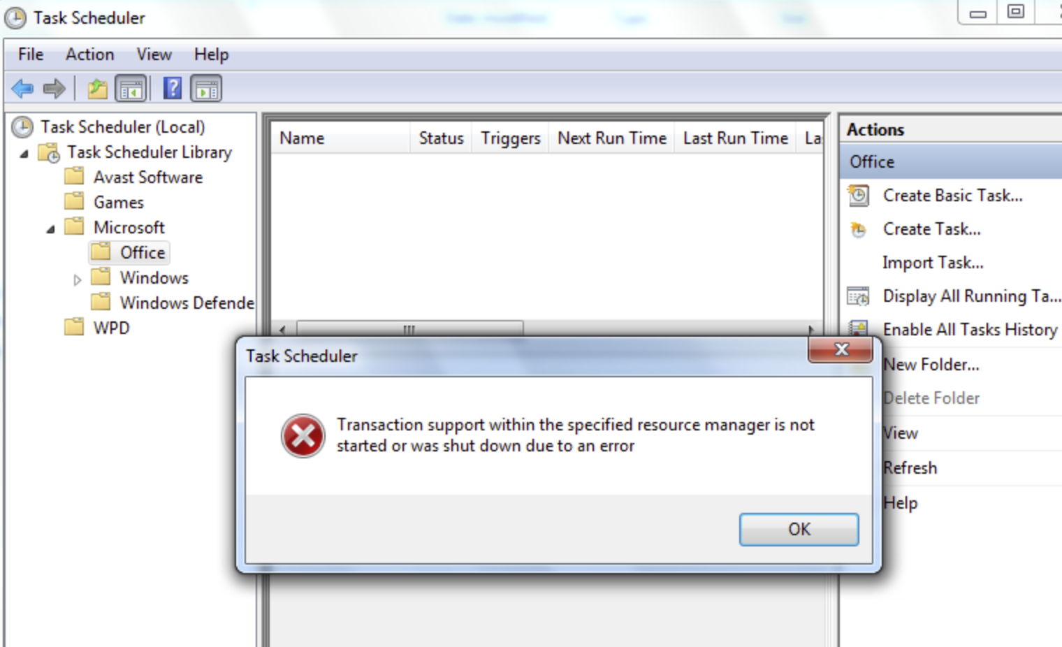 """Solved: How do I fix Task Scheduler Error """"Transaction support within the specified resource manager is not started or was shut down due to an error""""?"""