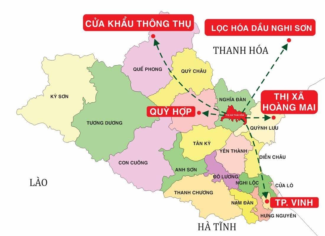 Vị trí trung tâm của thị xã Thái Hòa (nguồn internet)