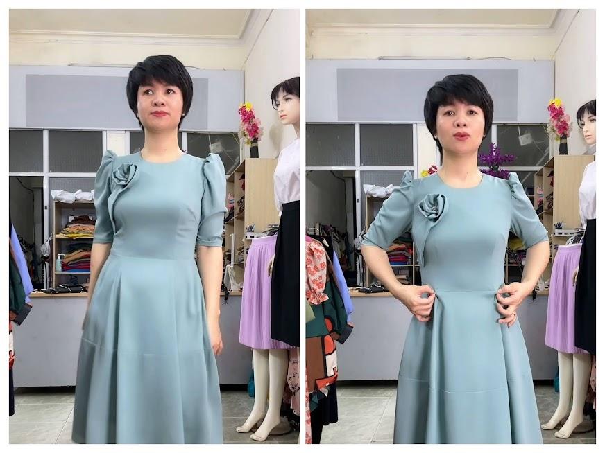 Cách không thấy bụng to khi mặc váy vải lụa thời trang thủy hải phòng