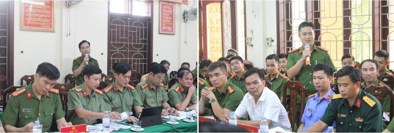 Chỉ huy các đội công tác và Trưởng Công an xã, thị trấn trên địa bàn báo cáo tình hình, kết quả đã đạt được trong thời gian vừa qua.