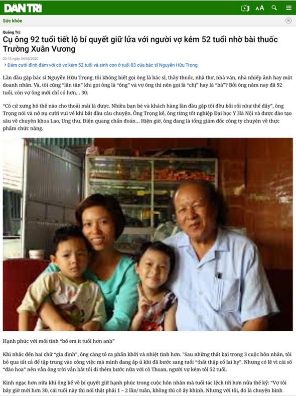 Bao Dan Tri noi ve Truong Xuan Vuong