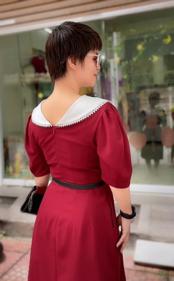 Review 5 ưu điểm váy xòe midi cổ yếm tay bồng thời trang thái bình
