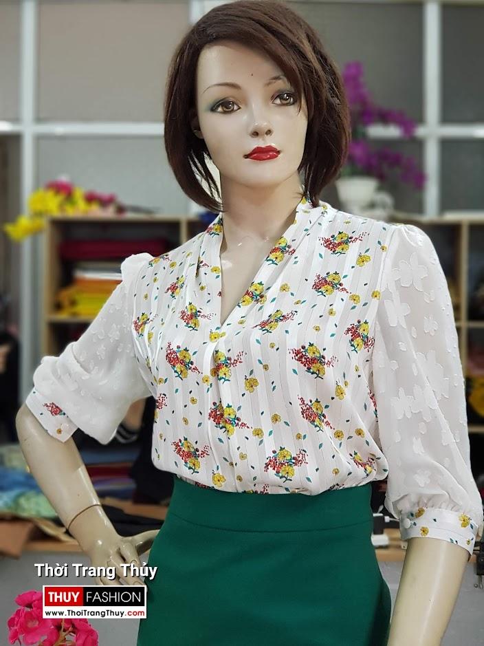 Áo sơ mi nữ và chân váy bút chì công sở V711 thời trang thủy hà nội