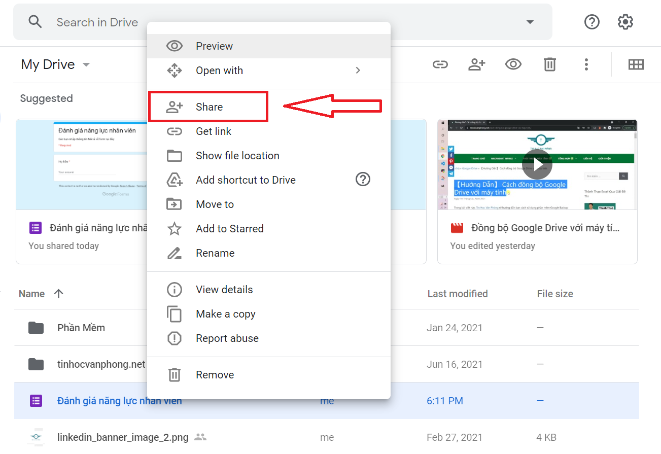 hướng dẫn cách chia se file trên google drive